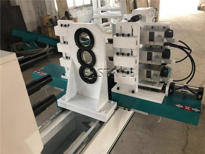 3-Axis Three-Tool Holder CNC Wood Turning Lathe Machine with Horizontal Spindle
